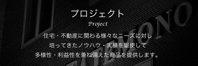 プロジェクト Project 住宅・不動産に関わる様々なニーズに対し培ってきたノウハウ・実績を駆使して多様性・利益性を兼ね備えた商品を提供します。